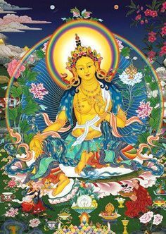 Yellow Tara Mantra is a prayer to Goddess Tara for prosperity and abundance. You can chant the mantra, repeat it silently, or listen to it. Buddha Kunst, Buddha Art, Tara Verte, Tara Goddess, Tibet Art, Vajrayana Buddhism, Thangka Painting, Wheel Of Life, Thai Art