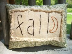Fall Pillow Tuck Hand Stitched Primitive Moon by valleyprimitives, $7.50