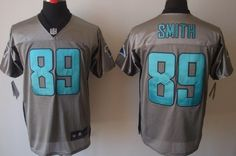 Nike Carolina Panthers #89 Steve Smith Gray Shadow Elite Jersey