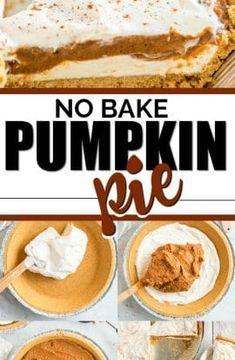 Pumpkin Cream Pie, Pumpkin Pie Cheesecake, No Bake Pumpkin Pie, Easy Pumpkin Pie, Baked Pumpkin, Pumpkin Dessert, Pumpkin Pumpkin, Pumpkin Cookies, Pumpkin Bread