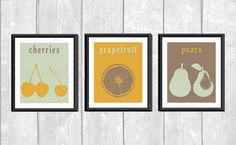 Modern Fruit Set of 3 Designer Original 8 x 10 by LemonPlumDesigns, $27.00