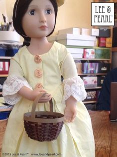 Happy Easter from Lee & Pearl! Make beautiful Easter baskets for your 18 inch / American Girl dolls — or similar dolls, like our 16 inch A Girl for All Time Lydia — using inexpensive ribbon, card stock and Lee & Pearl's FREE tutorial and printable package. Passover And Easter, Doll Patterns, Dress Patterns, Pearl Crafts, Printable Crafts, Free Printable, Popular Crafts, New Dolls, 18 Inch Doll