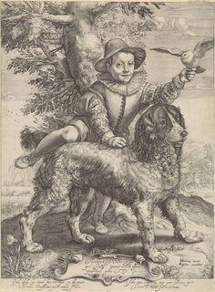 Anonymous | Portret van Frederik de Vries, Anonymous, Petrus Scriverius, Claes Jansz. Visscher (II), 1601 - 1652 | Portret van Frederik de Vries met de hond van Hendrick Goltzius. Hij was een zoon van de schilder Dirck de Vries, die een leerling was van Hendrick Goltzius. Frederik maakt aanstalten om op de rug van de hond te gaan zitten en houdt een duif in de hand. Op het cartouche een opdracht in het Latijn. Het onderschrift in het Latijn spreekt over de eenvoud van het kind en de trouw…