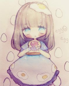 Egg o/ #sakurakoi #watercolor #chibi #sketch