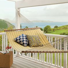 St. Kitts porch with a comfy yellow hammock overlooking Frigate Bay.