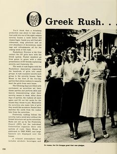 "Spectrum Green Yearbook, 1980. Greek Rush...A New Beginning. ""the Chi Omegas greet their pledges"""