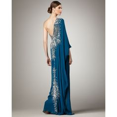 Naeem Khan One-Sleeve Embroidered Caftan Gown