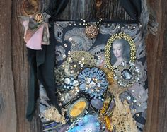 Lady with greyhound purse  wearable art purse romantic
