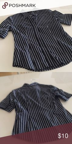 """Work shirt Cotton polyester short sleeves 25"""" long collared shirt new york and company Tops Blouses"""