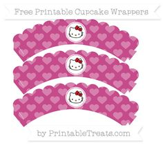 Free Mulberry Purple Heart Pattern Hello Kitty Scalloped Cupcake Wrappers