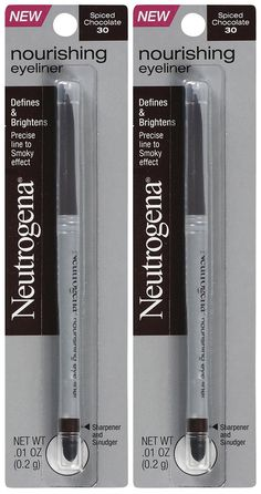Neutrogena Cosmetics Nourishing Eye Liner - Spiced Chocolate 30 - 2 pk. Defines & Brightens Precise line to Smoky effect Luminous color brightens eyes * Subtle light diffusers make whites of eyes appear whiter * Rich color nourishes with Olive Oil and Rainforest Shea Butter * Glides on smooth. Wears all day. Won't smudge or fade * Built-in sharpener gives precise definition. Contoured smudger softens and blends * Dermatologist & Ophthalmologist tested * Safe for sensitive eyes & contact…