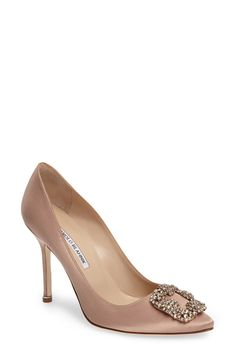 online shopping for Manolo Blahnik 'Hangisi' Jewel Pump (Women) from top store. See new offer for Manolo Blahnik 'Hangisi' Jewel Pump (Women) Roger Vivier, Satin Pumps, Women's Pumps, Manolo Blahnik Hangisi, Bridal Heels, Fashion Heels, Pointed Toe Pumps, Peep Toe, Womens Shoes Wedges