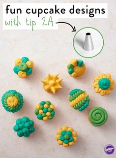 Create fun designs using Wilton tip From swirls to spirals, flowers to spikes, the large decorating tip can bring your cupcakes to life. Mix and match colors and styles for a striking collection of cupcakes that's sure to impress! Icing Tips, Frosting Tips, Cupcake Frosting, Cake Icing, Frosting Recipes, Buttercream Frosting, Cupcake Recipes, Cupcake Cakes, Kid Cakes