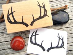 Buck Deer Antler Rubber Stamp Handmade by by BlossomStamps