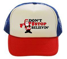 Don't Stop Believin Santa Trucker Hat Cap