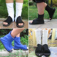 Naruto Konoha's Shoes Black Blue Ninja Boots Halloween Cosplay Dress