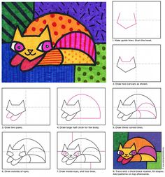 How to draw a cat in the style of Pop artist Romero Britto. #artprojectsforkids
