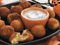 Progresso® plain bread crumbs provide a simple addition to these potato bites – a wonderful appetizer on the occasion of Halloween.