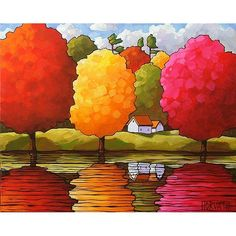 ORIGINAL PAINTING Folk Art Cottages Trees Modern Fine Art Landscape Colorful…