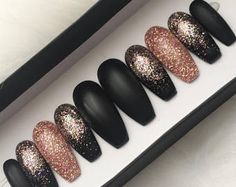 Black Rose Gold Glitter Press on Nails | Matte Fake Nails | Ombre | Pink Gold | Glitter | Handpainted Nail Art | Glue On Nails | Any Shape