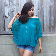 Sera Top New without tags. Teal boho style top with lace sleeves and crochet detail. Flowy and lose fitting. Great with blue jeans and sandals. / Rosaries pictured are available in a separate listing / *NO ADDITIONAL BUNDLE DISCOUNT Tops