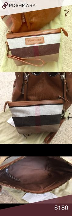 """Burberry canvas check pouch/wrislet Never been used, comes with dust bag Botton length 6"""" Burberry Bags Clutches & Wristlets"""