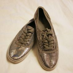Silver sequin shoes Cute basic sneakers with silver sequins all over, grey piping and laces, white sole. Only worn once. Made by bongo, size 8 (i THINK they'd also fit up to 8.5 with either thin or no socks) BONGO Shoes Sneakers