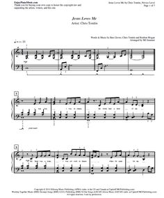 Jesus Loves Me by Chris Tomlin Sheet Music for Piano at Novice Level in PDF