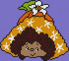 Orange Blossom From Strawberry Shortcake (square) Perler Bead Pattern / Bead Sprite