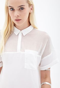 Mesh-Paneled Top | FOREVER21 - 2000138253