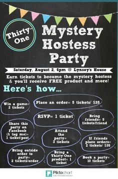 "Thirty-one ""Mystery Hostess"" Party @ my house on Saturday, August 2nd @ 6pm!"