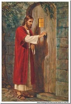 Picture of Jesus going door to door... The knob is on the inside...you have to invite Him in!