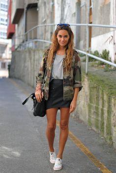camo, skirt, sneakers
