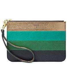 Fossil Small Leather Patchwork Zip Pouch Wristlet in Green Stripe Women's Crossbody Purse, Backpack Purse, Burberry Handbags, Prada Handbags, Small Shoulder Bag, Chain Shoulder Bag, Leather Purses, Leather Handbags, Sacs Design
