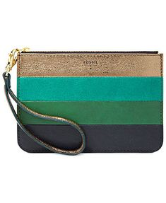 Fossil Handbag, Small Leather Patchwork Zip Pouch
