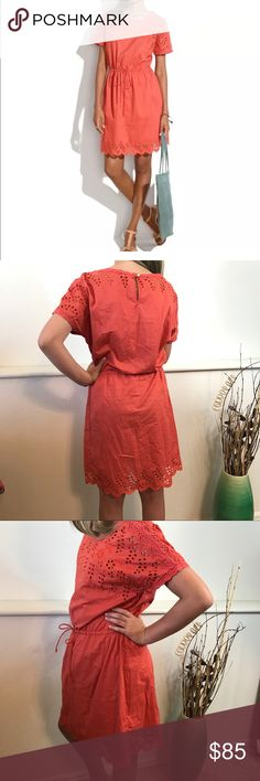 Madewell Dark Orange Eyelet Lace Fully Lined Dress Madewell Dark Orange Eyelet Lace Fully Lined Dress size 0. Loose fitting drawstring belted waist. 100% Cotton. Excellent condition. Madewell Dresses Midi