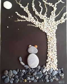 There are Beautiful Pebble Art Ideas. Stone Crafts, Rock Crafts, Diy And Crafts, Crafts For Kids, Arts And Crafts, Paper Crafts, Pebble Pictures, Rock And Pebbles, Deco Originale
