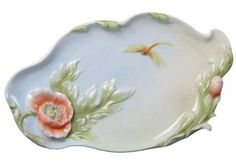 Porcelain Trinket Tray with Gold Dragonfly and Orange Poppy