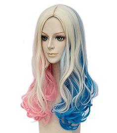 [Harley Quinn costumes] Topcosplay Women's Wig Curly Halloween Costume Cosplay Wig Blonde Mixed Blue Pink Gradient -- Read more at the image link. (This is an affiliate link) #HarleyQuinncostumes