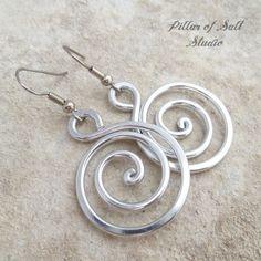 aluminum spiral earrings / Pillar of Salt Studio wire wrapped jewelry