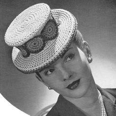 vintage crochet pattern ladies top hat fascinator 1940s style retro costume brimmed crochet cotton printable electronic pdf download 1940