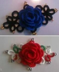 Brooches  ***Looks like a combo of tatting and crocheted roses?
