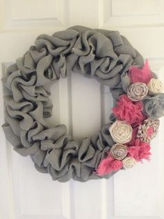 Hey, I found this really awesome Etsy listing at https://www.etsy.com/listing/240621035/grey-burlap-wreath-burlp-pink-grey-and