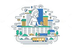 We Are Here - Line Illustration. Business Infographic. $5.00