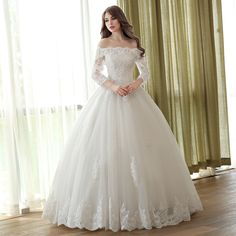 Lace Wedding Dress Princess Ball Gowns Off The Shoulder Ivory Bridal Dress Applique Beaded Half Sleeve Floor Length Wedding Gown Wedding Dress Tea Length, Tulle Wedding Gown, 2016 Wedding Dresses, Cheap Wedding Dress, Bridal Dresses, Dresses 2016, Ivory Wedding, Cheap Dress, Luxury Wedding