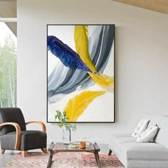 Modern Colorful Abstract Art Paintings Contemporary Fine Art Canvas Prints Posters For Offices Businesses Salons Modern Home Decor Art Colorful Abstract Art, Contemporary Abstract Art, Abstract Wall Art, Modern Contemporary, Art Blue, Feather Art, Blue Feather, Grey Wall Art, Yellow Wall Art