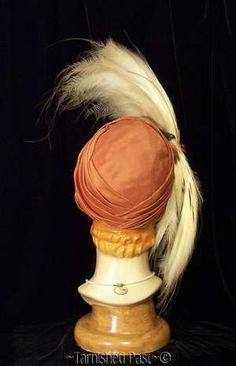 Vintage Art Deco Big Taxidermy Bird Head Wings Feathers Orange Silk Hat 30s Rio | eBay