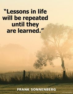 """Lessons in life will be repeated until they are learned."" ~ Frank Sonnenberg www.FrankSonnenbergOnline.com"