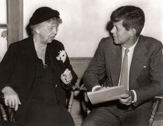 """Eleanor Roosevelt with John F. Kennedy, late 1950's 