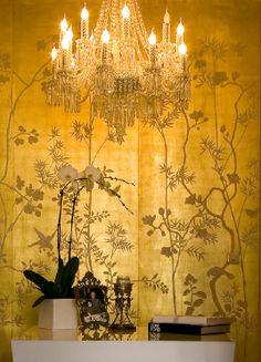 Metallic portobello design on gold gilded silk wallpaper by De Gournay